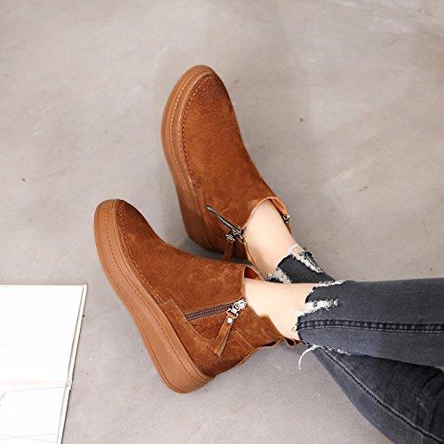 KHSKX-Alle KHSKX-Alle KHSKX-Alle Britischen Stil Stiefel Mit Matt Martin Stiefel Schuhe Und Dicke Frauen Schwamm Plus Samt Schuhe Stiefel Caramel color 7c92ef