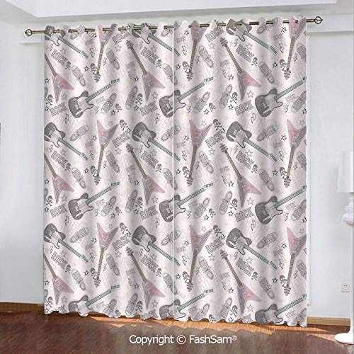 """Printed Blackout Curtains Pattern with Guitars Shoes Skulls Crossbones Stars Punk Rock Music Concert Window Treatment Pair for Bedroom(84""""X62"""")"""