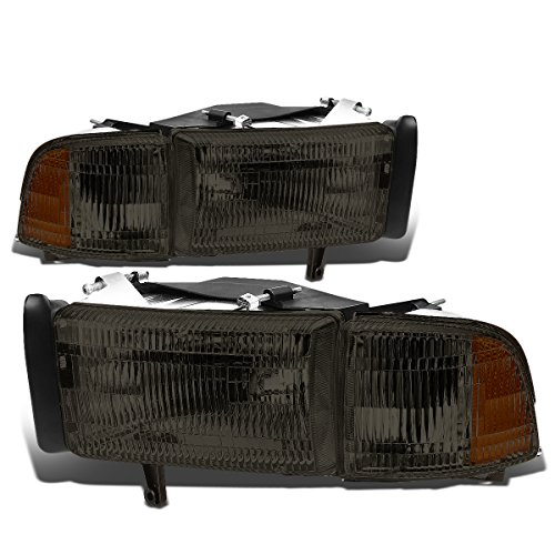 For Dodge Ram BR/BE w/o Sport Pair of Smoked Lens OE Replacement Headlight + Corner Light