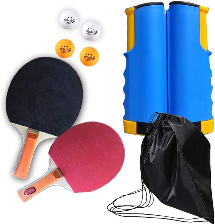 FEE-ZC Juego de Ping Pong portátil de Viaje al Aire Libre para Interiores, Juego de pádel de Tenis de Mesa con Red retráctil, Pelotas y Estuche para niños Actividades para Adultos