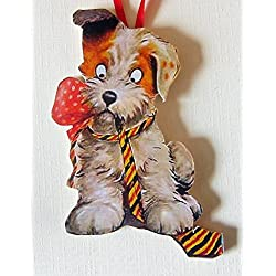 Naughty Puppy Valentine Handcrafted Wood Ornament, Chewed-Up Striped Tie, Dog Lover Gift, Terrier Magnet, Red Dog Bow, Kids' Gift, Bad Dog