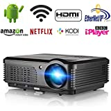 HD 1080P Video Projector Wireless Indoor Outdoor Portable WiFi Projector, LED LCD Home Theater Projector Support HDMI USB VGA AV for Home Cinema TV Laptop Movie Game Smartphone with Free HDMI Cable