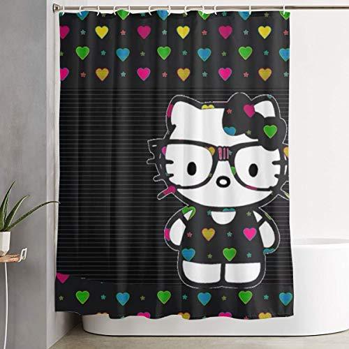 LYULIAN Love Hello Kitty with Hook Stylish Shower Curtain Printing Waterproof Bathroom Curtain 60 X 72 Inches