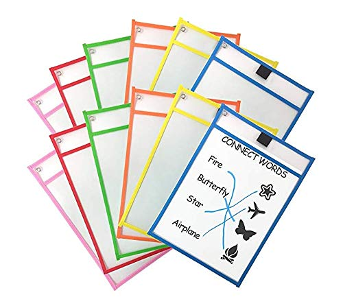 36Pack Dry Erase Pocket Sleeves Assorted Colors