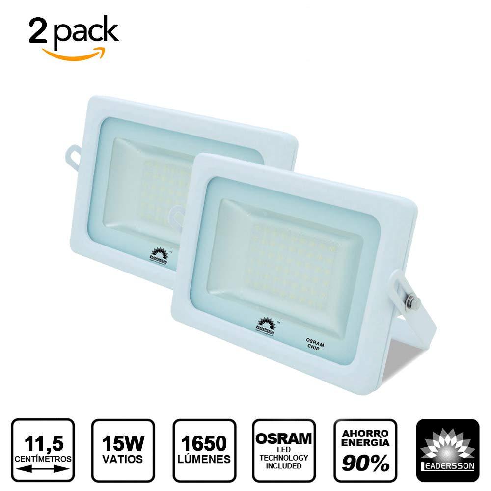 Pack de 2 Focos LED Exterior T-SPACE Blanco /· Proyector LED Extraplano 100W con Chip Interior OSRAM /· Focos LED con 11000 L/úmenes /· Medidas 285mm x 205mm /· 5 A/ños de Garant/ía Clase energ/ética: A++
