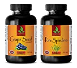 Product review for antioxidant anti aging - GRAPE SEED EXTRACT - SPIRULINA - COMBO - spirulina chlorella powder natural - (2 Bottles Combo)