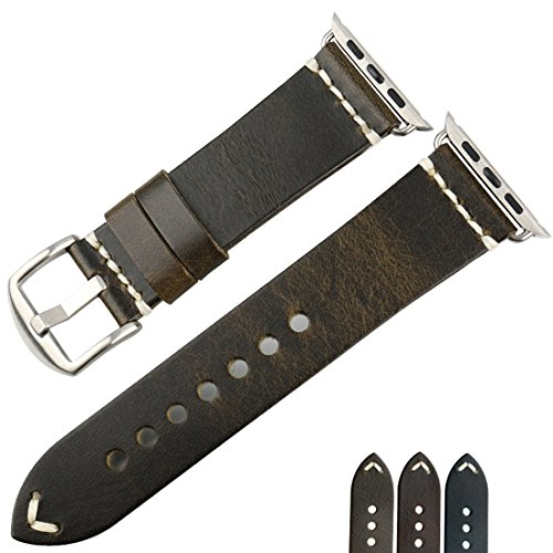 MAIKES Wristband Vintage Oil Wax Leather Strap For Apple Watch Band 42mm 38mm Series 3 2 1 iWatch Bracelet (For Apple Watch 38mm, Green+Silver Clasp) - Silver Green Leather