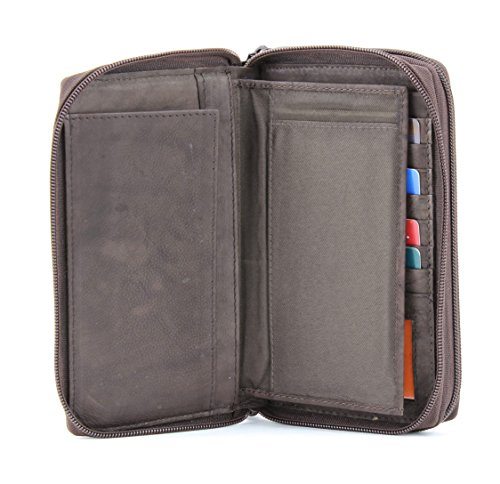 Around Leather Wallet with Bacci Clutch Window Zipper Brown ID Double FZdnxT