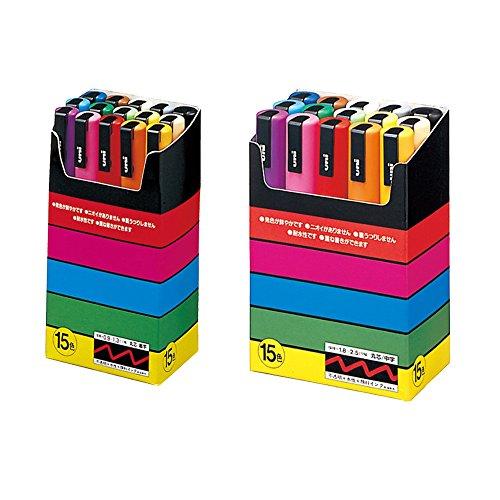 Uni-posca Paint Marker Pen BUNDLE SET , Mitsubishi Pencil Uni Posca Poster Colour Marking Pens Fine Point 15 Colours (PC-3M15C), Medium Point 15 Colors (PC-5M15C) , 5 Color Sticky Notes -Japan Import