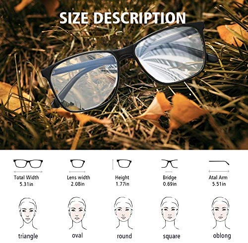 Blue Light Blocking Glasses Women/Men, PengSer Fashion Lightweight Frame Computer Eye Glasses Anti Eyestrain & UV Glare for Gaming & Reading, 2-Pack (Black & Clear)