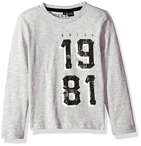 GUESS Little Boys' Long Sleeve 1981 T-Shirt, Light Heather Grey, 6