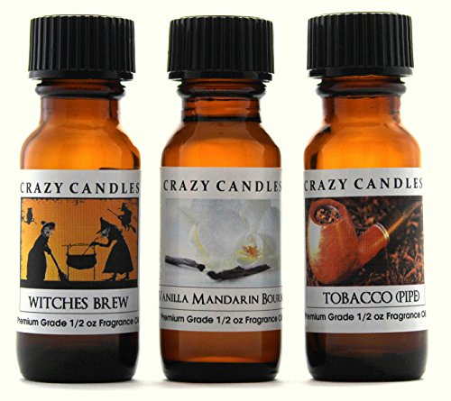(Crazy Candles 3 Bottles Set, 1 Witches Brew, 1 Vanilla Mandarin Bourbon, 1 Tobacco 1/2 Fl Oz Each (15ml) Premium Grade Scented Fragrance Oils By)