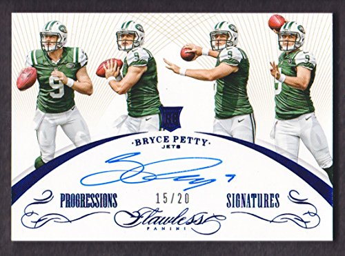2015 Panini Flawless Football Progressions Signatures Blue BY Bryce Petty Auto 15/20 Jets