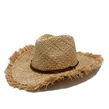 ZI LING SHOP- Pure Handwork Summer Women Men Raffia Straw Cowboy Hat For Gentleman Wide Brim Boater Panama Jazz Hats Chapeau
