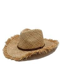 Women Raffia Straw Cowboy Hat For Gentleman Wide Brim Boater Panama Jazz Hats Godfather Sombrero Cap Fashion hats&caps (Color : 1, Size : 56-58cm)
