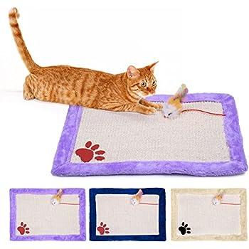 Yunt Cat Activity Play Mat,Pet Training Scratching Sisal Scratcher Catnip Enhanced Scratch Mat(Beige)