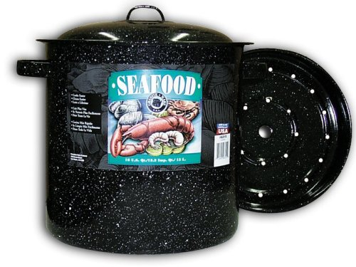 (Granite Ware Seafood/Tamale Steamer with Insert, 15.5 Quart, Black)