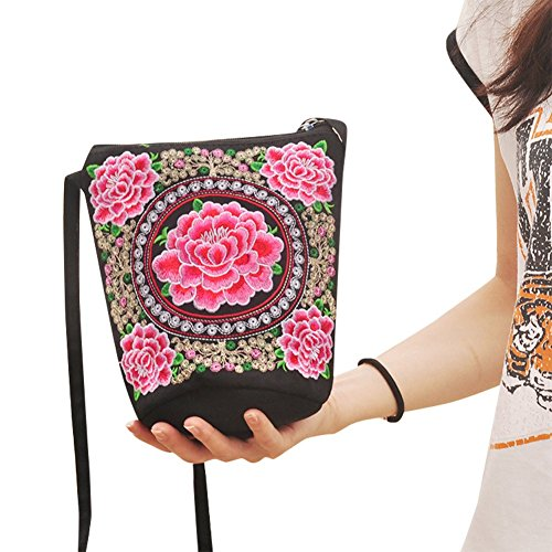 Froomer Women Girl Retro Ethnic Flower Embroidered Handmade Handbag Hmong Bag (A)
