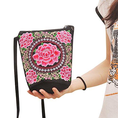 Froomer Women Girl Retro Ethnic Flower Embroidered Handmade Handbag Hmong Bag (Embroidered Shoulder Messenger Bag)