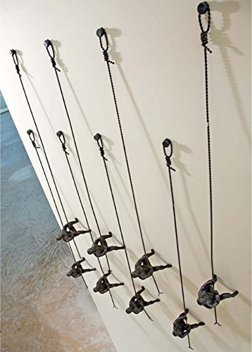Metal Iron Climbing Man Wall Sculpture Set 3 | Hanging Climber Modern Victory by My Swanky Home