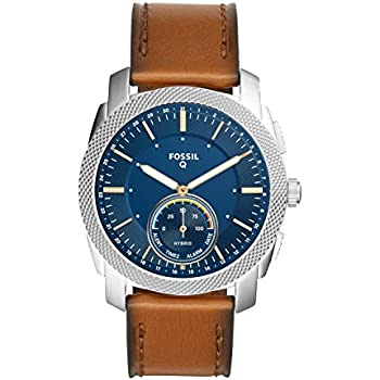 Fossil Q Mens Machine Brown Leather Hybrid Smartwatch FTW1162