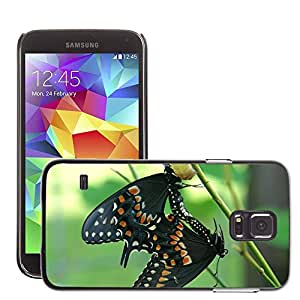 GoGoMobile Slim Protector Hard Shell Cover Case // M00123760 Butterfly Insect Nature Black Summer // Samsung Galaxy S5 S V SV i9600 (Not Fits S5 ACTIVE)