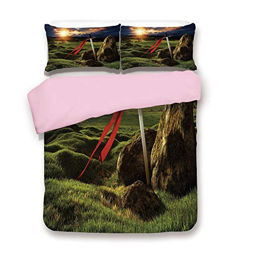 Pink Duvet Cover Set,Twin Size,Arthur Camelot Legend Myth in England Ireland Fields Invincible Sword Image,Decorative 3 Piece Bedding Set with 2 Pillow Sham,Best Gift For Girls Women,Green Blue and Re