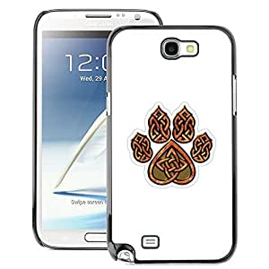 A-type Arte & diseño plástico duro Fundas Cover Cubre Hard Case Cover para Samsung Note 2 N7100 (Bear Claw Brown White Pattern Heart)