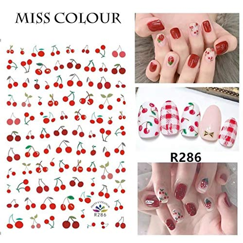 Fruit Nail Stickers-Decals Pineapple, Lemon And Cherry Nail Art Sticker -Foil Transfer Summer Nail Art Decorations Watermark Small Fruit Designs Stickers Nail Tattoo Manicure Tips Decoration (#05)