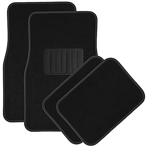 OxGord 4pc Full Set Carpet Floor Mats, Universal Fit Mat for Car, SUV, Van Trucks - Front Rear, Driver Passenger Seat Black