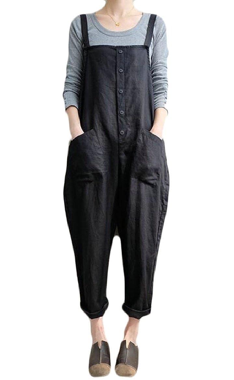 Tymhgt-CA Womens Casual Loose Bib Baggy Overalls Jumpsuit Pants Cotton Linen Romper