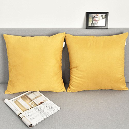2 Pieces Deluxe Velvet Square Accent Throw Pillow Covers Cushion Case for Bedroom by Natus Weaver , 26 x 26 , Gold