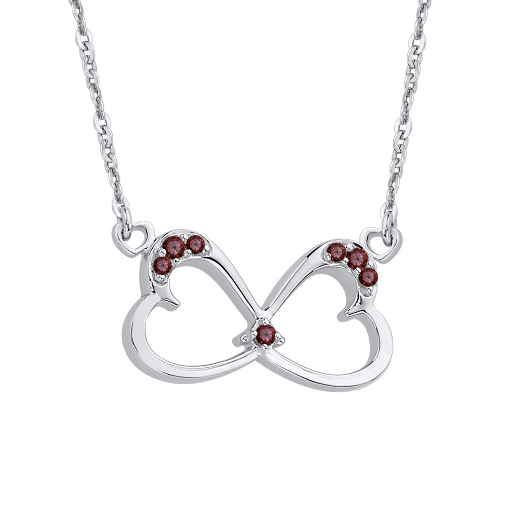 KATARINA Gemstone Twin Heart Infinity Pendant Necklace in Sterling Silver 1//8 cttw