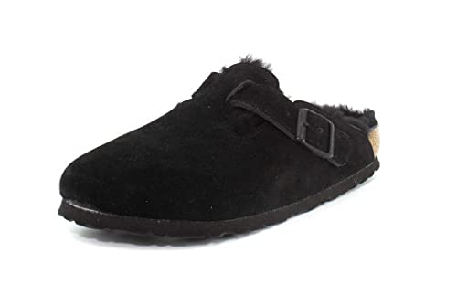 a2ae9d5be18f0a Birkenstock Boston Black with Black Shearling Suede Clogs 39 N (US Women s  8-8.5