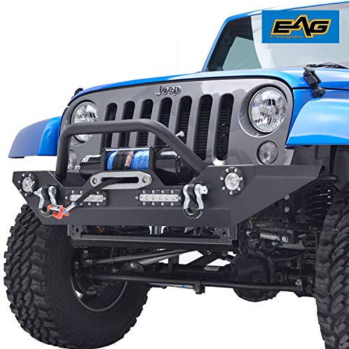 EAG Front Bumper with LED Lights and Winch Plate for 07-18 Jeep Wrangler JK Rock Crawler
