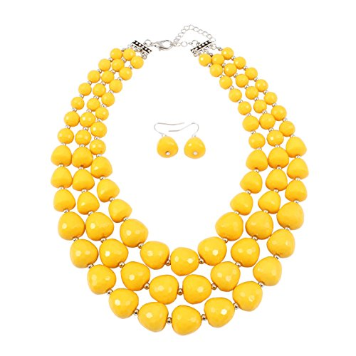 KOSMOS-LI 3 Layer Acrylic Yellow Bead Statement Multi Strand Necklace ()