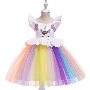 f7713a74c97d5 Amazon.com: Flower Girls Dress Unicorn Belted Wedding Party ...