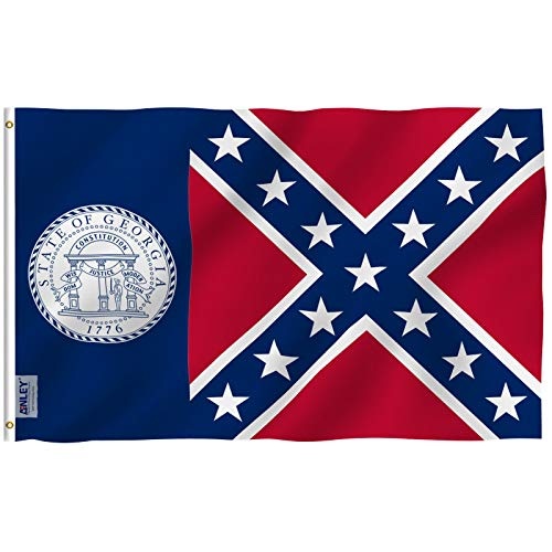 Nylon Georgia Indoor Flag - Anley Fly Breeze 3x5 Foot Old Georgia State Polyester Flag - Vivid Color and UV Fade Resistant - Canvas Header and Double Stitched - Georgia 1956-2001 Flags with Brass Grommets 3 X 5 Ft
