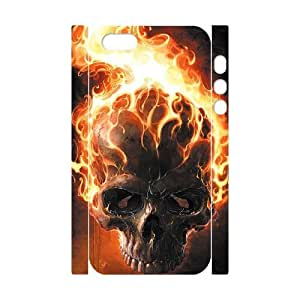 3D iPhone 5,5S Case Skull & Flame, Cheap For Boys, [White] Yearinspace159363
