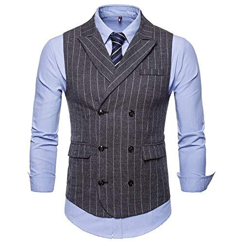 (Mens Slim Fit Dress Vest Plaid/Stripes Double Breasted Vest Waistcoat Formal Premium Button Down Vest)