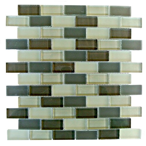Abolos Rectangular Glass Mosaic Tile Kitchen Bathroom Wall Backsplash 10 Sheets Blue Gray