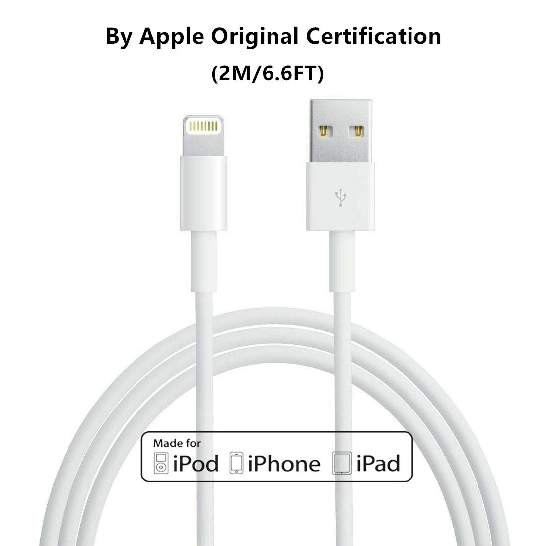 2M/6.6FT Apple Original Charger [Apple MFi Certified] Lightning to USB Cable Compatible iPhone Xs/X/8/7/6s/6/6 plus/5s/5/SE,iPad Pro/Air/Mini,iPod Touch Original Certified(White)