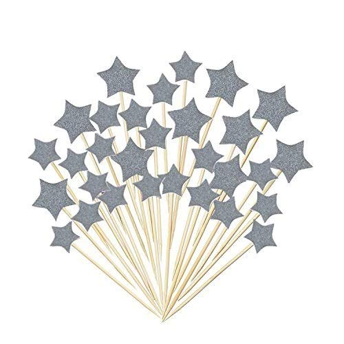 Glorious Year Silver Star Cake Toppers Kids Birthday Party Baby Shower Cupcake Decorations 36pcs