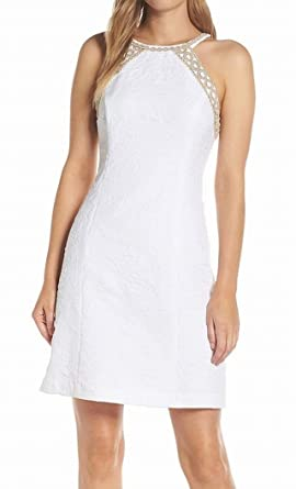e52710cb4d4d31 Lilly Pulitzer Women's Pearl Stretch Shift Dress Resort White Caliente  Pucker Jacquard 10