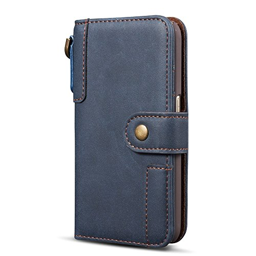 GR Cartera de cuero Premium con estuches para tarjetas y cordón para Samsung Galaxy S6 Edge ( Color : Black ) Blue