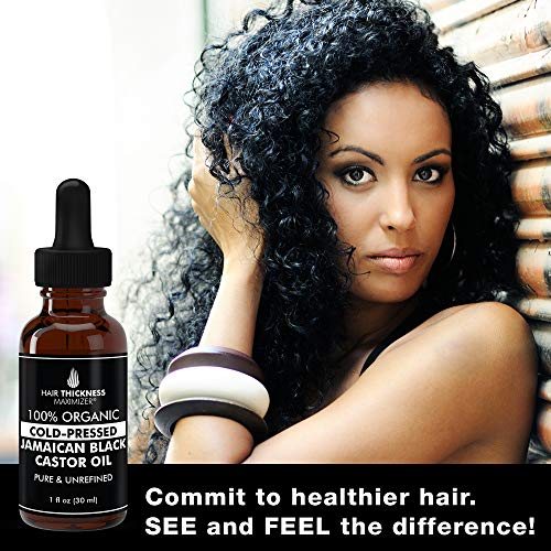 100% Organic Cold-Pressed Jamaican Black Castor Oil By Hair Thickness Maximizer. PURE + UNREFINED Oils For Thickening Hair, Eyelashes, Eyebrows. Avoid Hair Loss, Thinning Hair for Men + Women