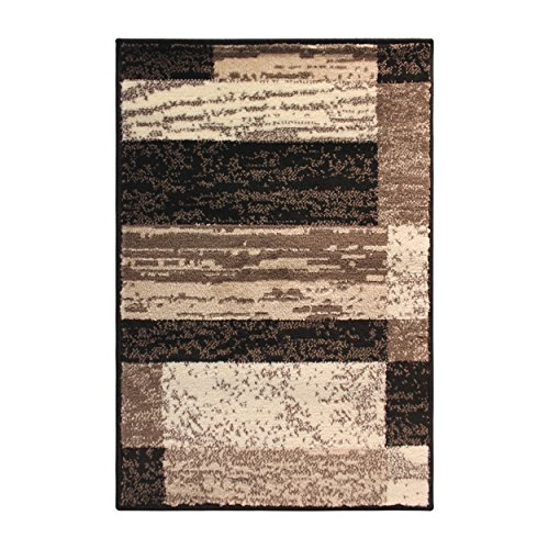 wood Collection Area Rug, Modern Area Rug, 8 mm Pile, Geometric Design with Jute Backing, Chocolate, 3' x 5' ()