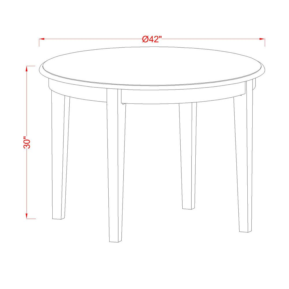 East West Furniture BOT-CAP-T Round Table with 4 Tapered Legs, 42-Inch by East West Furniture (Image #2)