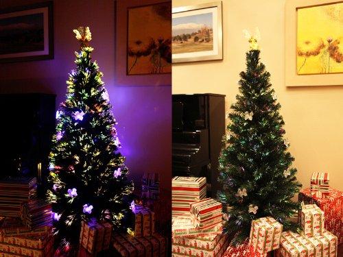 6.5 FT PRE-LIT MULTI COLOR LED LIGHTS & FIBER OPTIC CHRISTMAS TREE WITH ANGEL TOPPER 4.5' Christmas Ornament