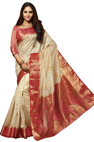 Cream Designer Silk Fancy Saree